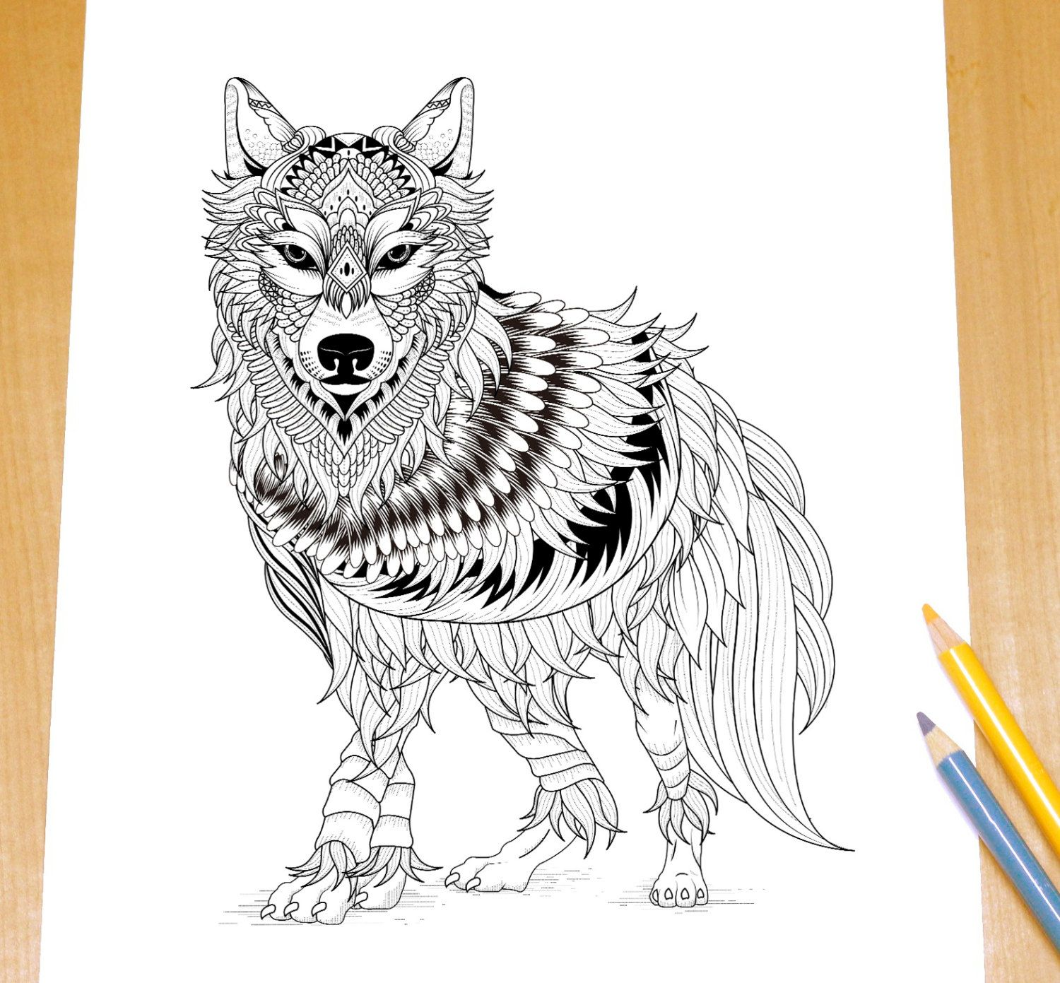 Ferocious Wolf - Adult Coloring Page Print door ...