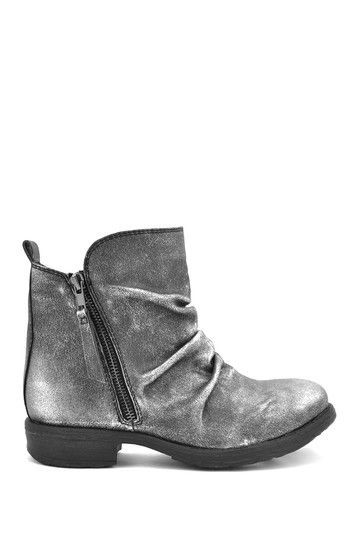 Silver grey grunge ankle boots