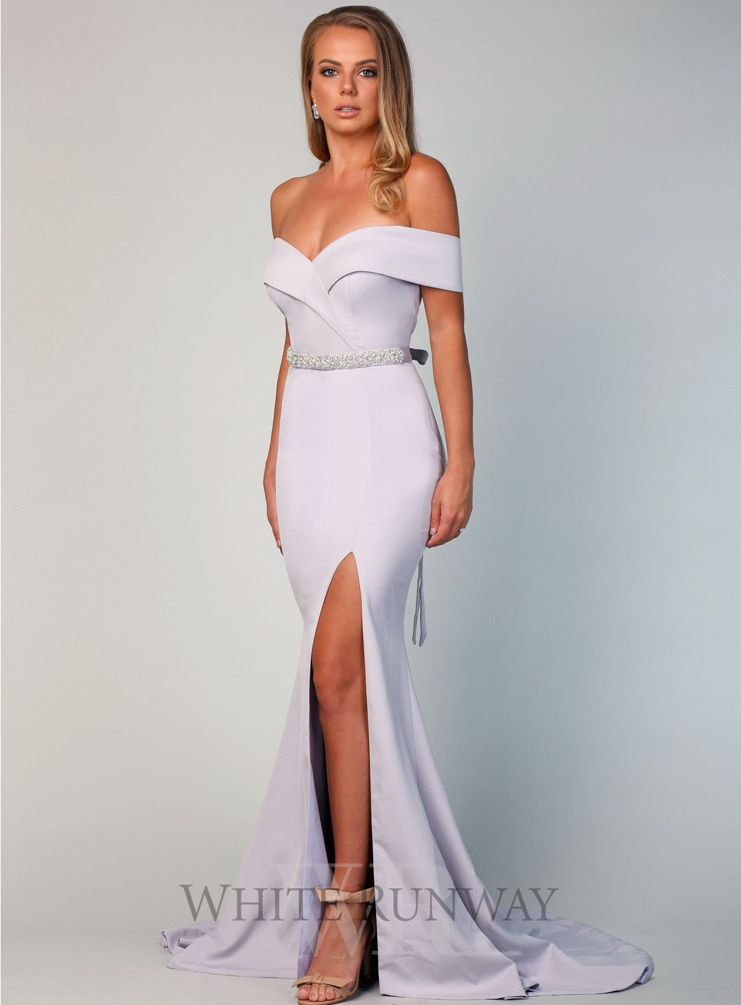 4bf26daabc5 Gia Off Shoulder Gown. A stunning full length gown by Samantha Rose. An off  shoulder style featuring crossover detailing on the bust and a side split  in the ...