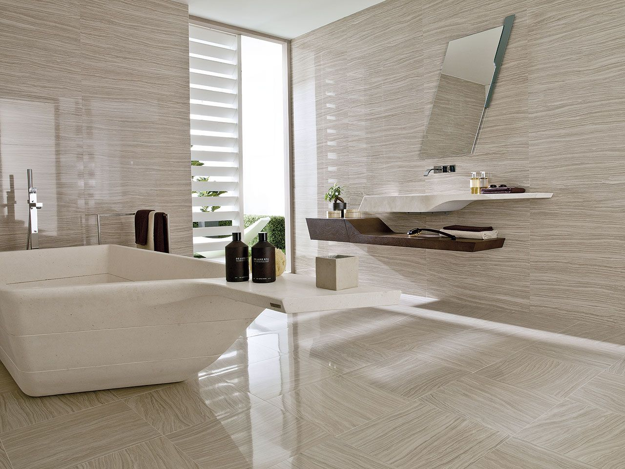 Luxury modern bathroom with porcelanosa 39 s stylish tiles for Baldosas bano porcelanosa