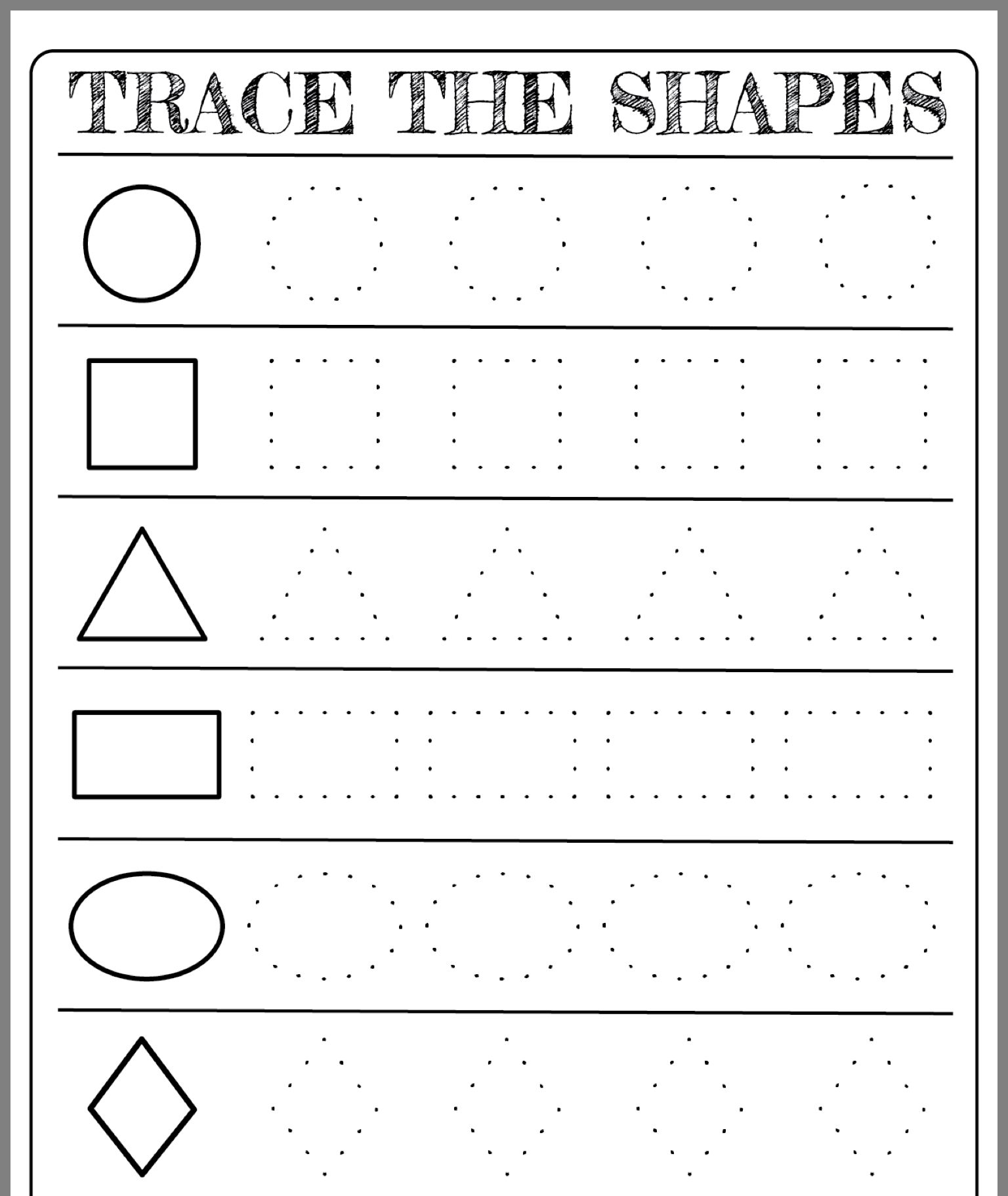 Free Printable Shapes Worksheets For Toddlers And Preschoolers Preschool Forms Free Preschool Worksheets Shape Activities Preschool