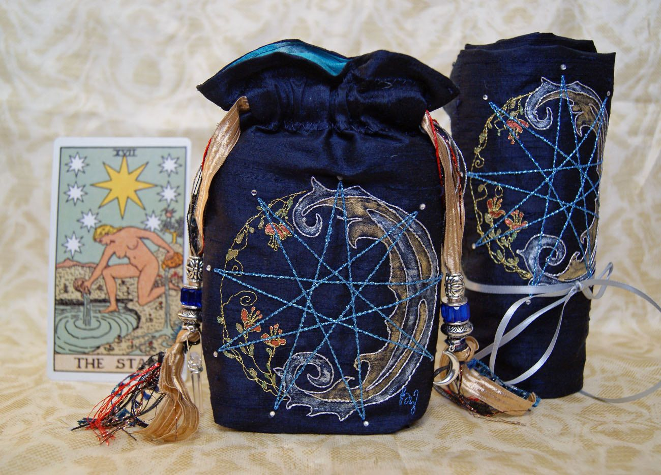 Tarot Bag and Spread Cloth, Navy Blue,Silk Lining, Enneagram ...