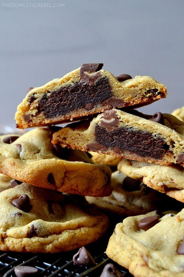 Brownie-Stuffed Chocolate Chip Cookies