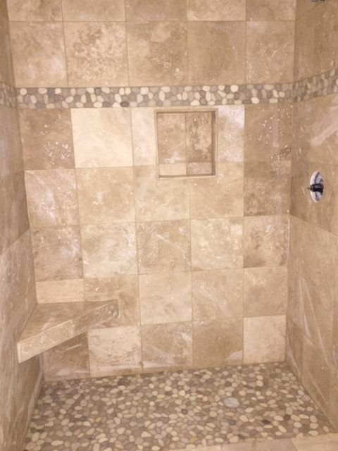 Large Java Tan And White Pebble Tile Shower Border My
