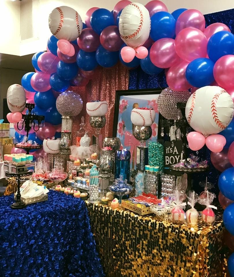 I Like The Baseballs With The Bows Baby Gender Reveal Party Decorations Gender Reveal Party Decorations Gender Reveal Party