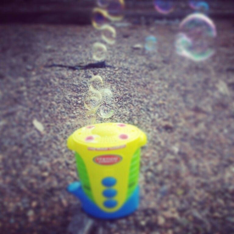 Cheap easy way to keep kids entertained. Battery operated bubble machine. Hours of fun
