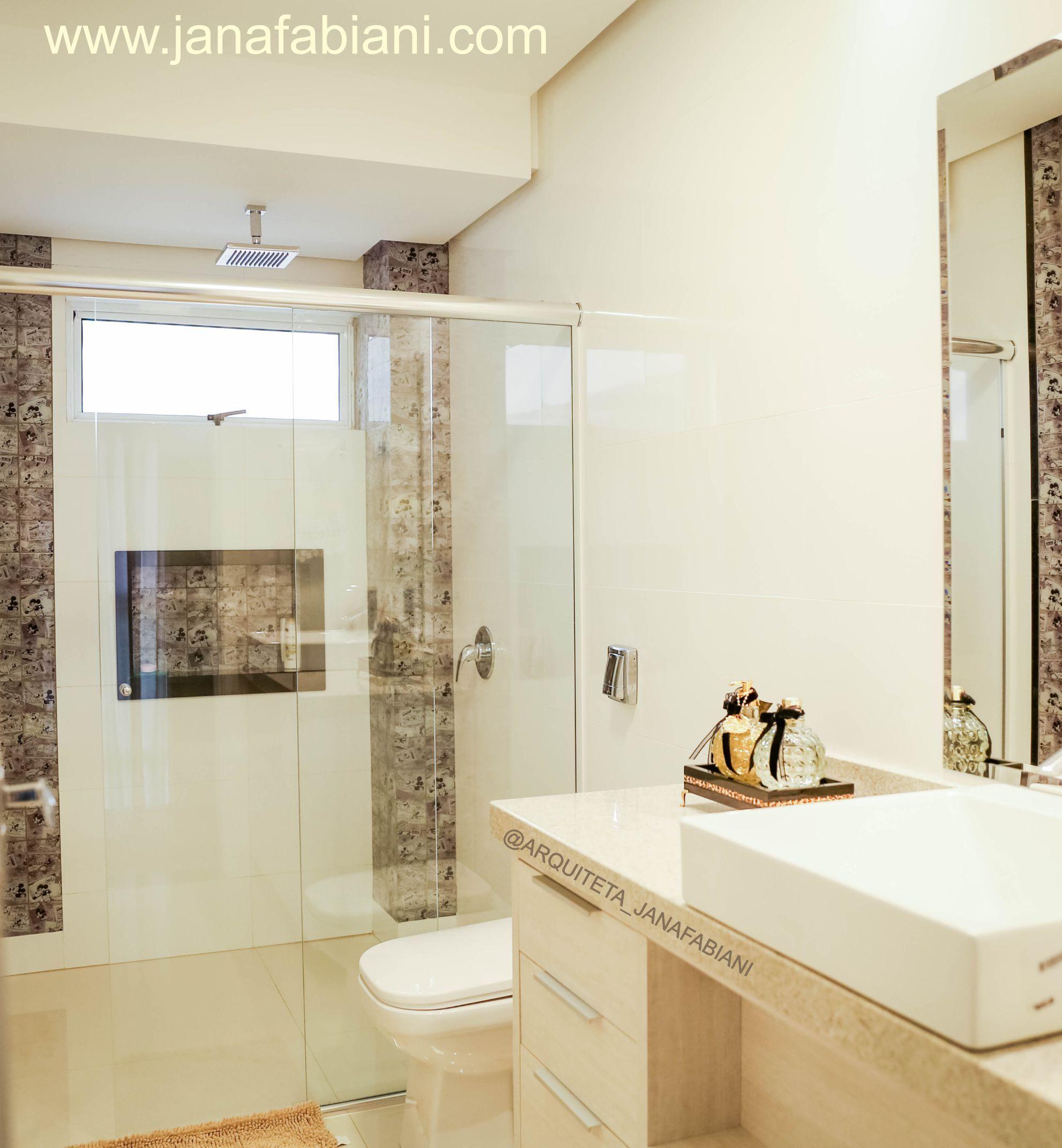 Banheiro, pastilha mickey, banheiro clean  DECOR sobmedida  Jana Fabiani   -> Banheiro Clean Com Pastilha