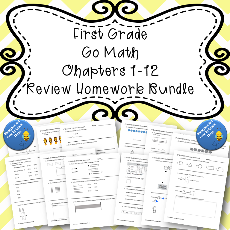 First Grade Go Math Chapters 1-12 Review Homework BUNDLE ...