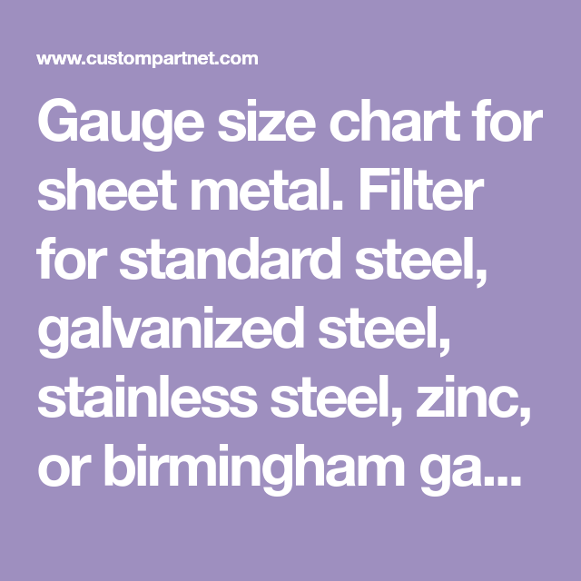 Gauge Size Chart For Sheet Metal Filter For Standard Steel Galvanized Steel Stainless Steel Zinc Or Birmingham G Metal Gauge Sheet Metal Gauge Sheet Metal