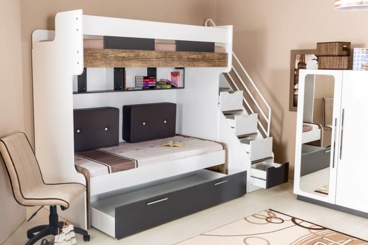 Multifunctionele Kinderkamer Meubel : Compact bed hoogslaper stapelbed kinderkamer tienerkamer
