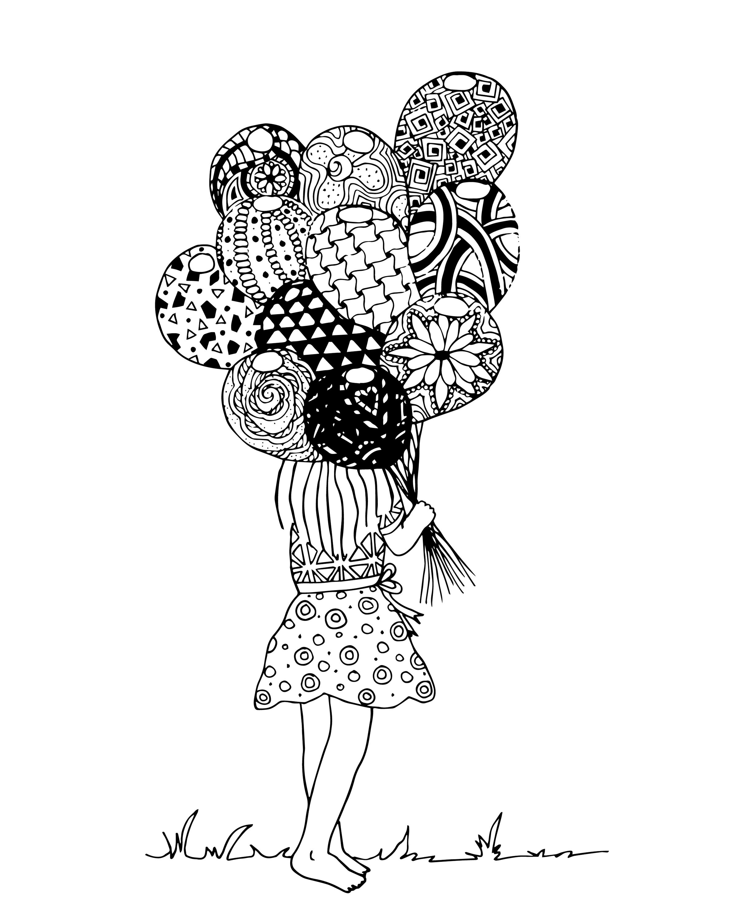 Free Coloring Page Adults. Little Girl Holding Handful Of Balloons