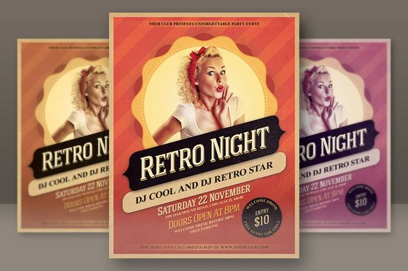 Retro Night Party Flyer  Party Flyer Night Parties And Brochures