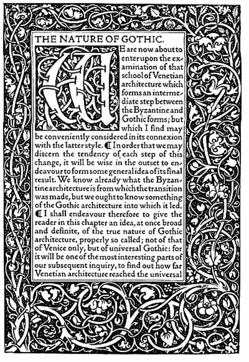 Kelmscott Nature Of Gothic Page Jpg 504 732 Arts And Crafts Movement William Morris Arts And Crafts