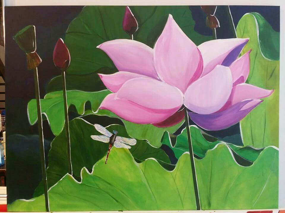 1st lotus painting in acrylics