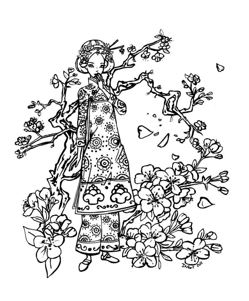 Cherry Blossom Cherry Blossom Drawing Coloring Pages Cherry Blossom Art