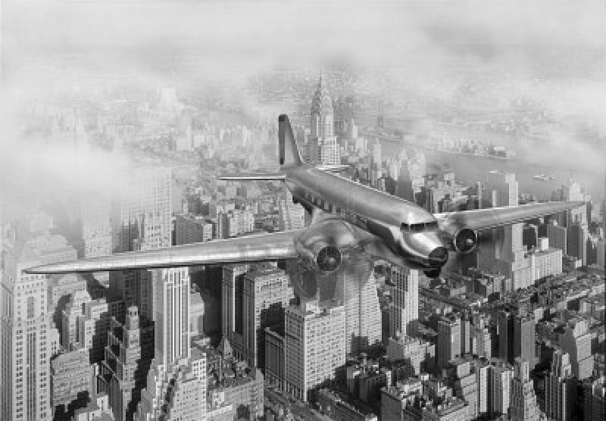 vintage image of a douglas dc 3 over new york city copyright custom printed wallpaper wall murals borders printed in tempe