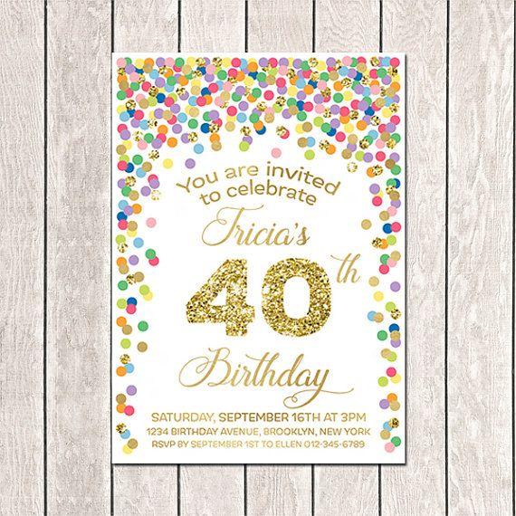 40th Birthday Invitation Printable 20th 30th 50th Women Invite Rai