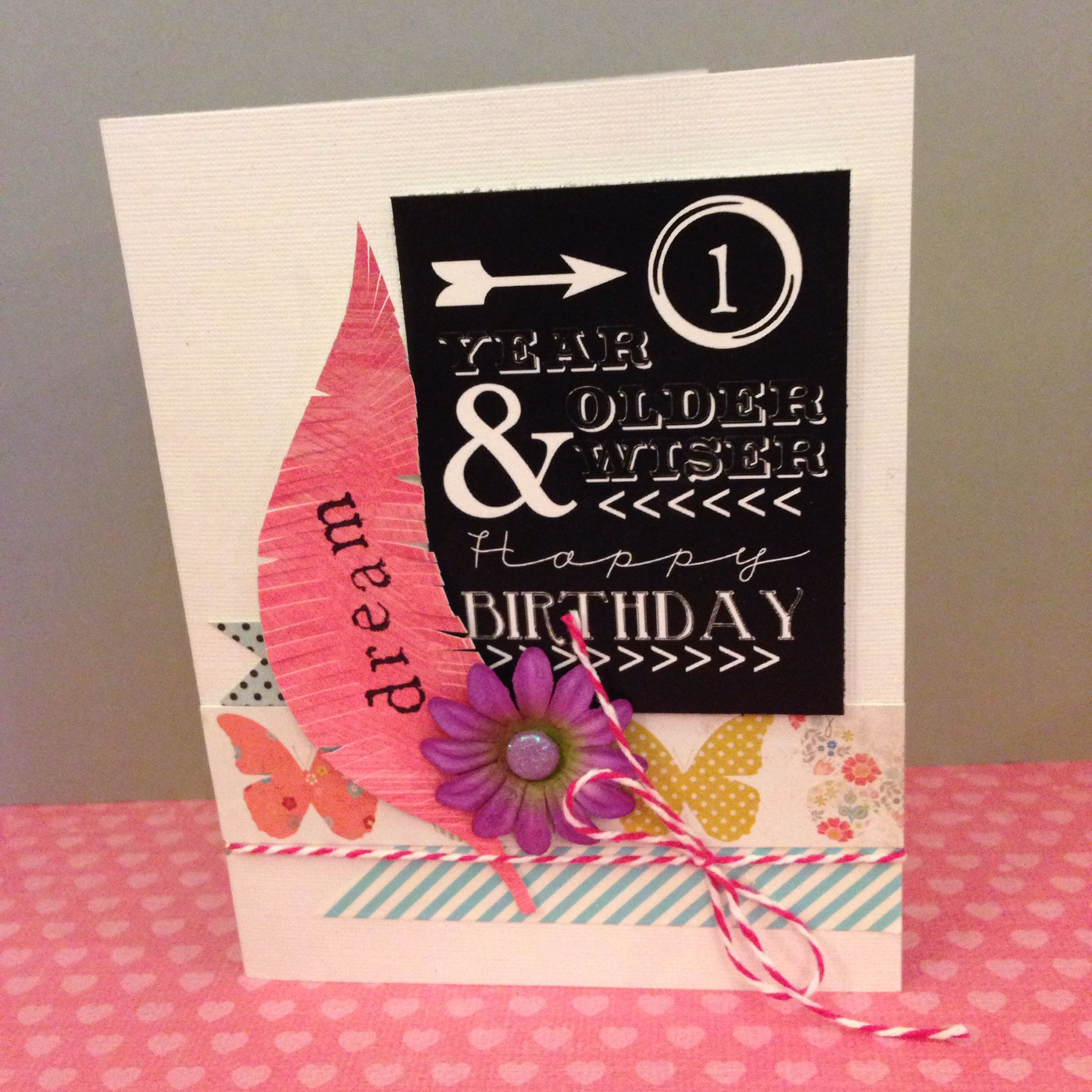 Happy Birthday Card With Chalkboard Printable Cut Paper Feather