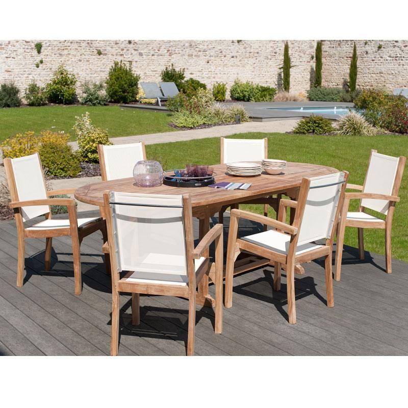 Salon de jardin en teck et textilène SUMBARA 24 - 1 table ovale ...