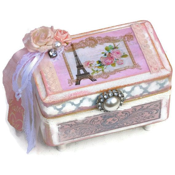 Shabby chic jewelry box with Paris Eiffel Tower mixed media art