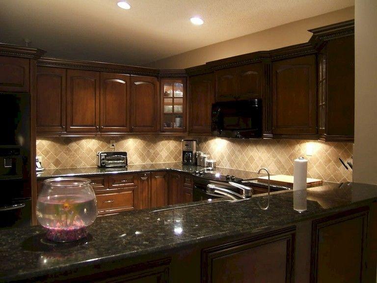 92 Amazing Kitchen Backsplash Dark Cabinets Kitchendesign Kitchenremodel Backsplash With Dark Cabinets Granite Countertops Kitchen Cherry Cabinets Kitchen