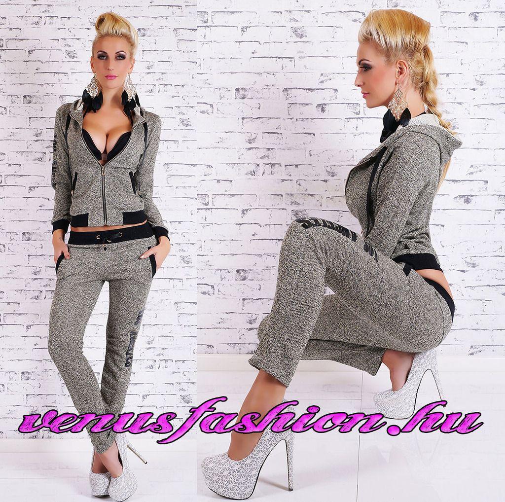 bd65b6b273 Divatos szürke kapucnis női szabadidő együttes - Venus fashion női ruha  webáruház