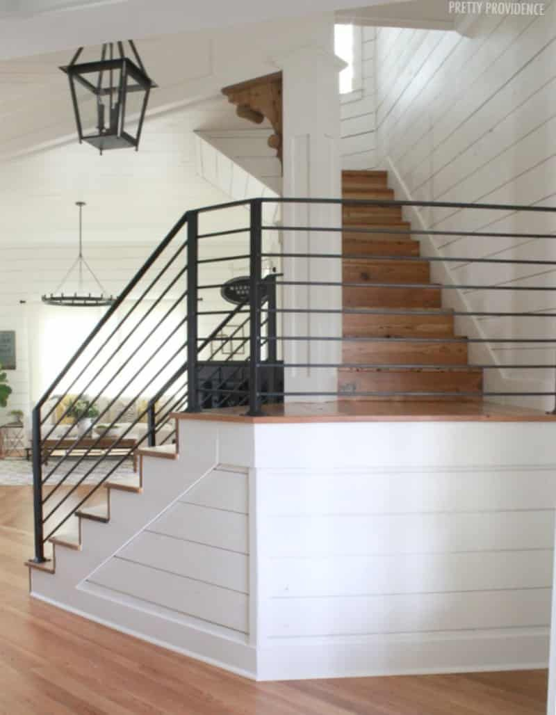 Staying At Magnolia House Farmhouse Staircase Staircase Decor | Modern Farmhouse Stair Railing | Contemporary | Design Small House | Simple 2Nd Floor Railing Wood Stairs Iron Railing Design | Vintage Farmhouse | Wire
