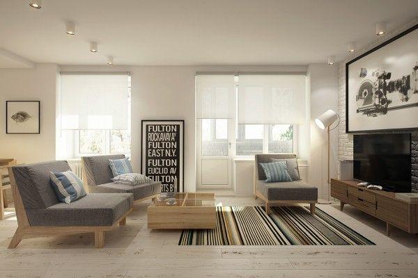 Cozy studio 40 square meters transformed by curly design in interior design