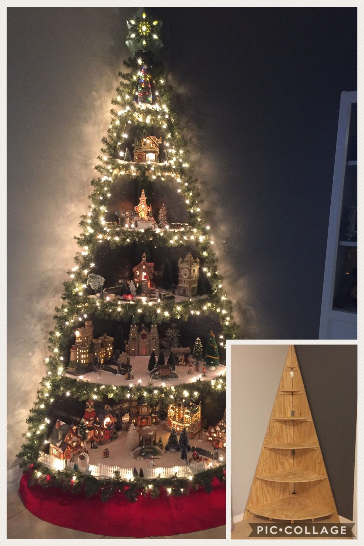 Love This More Than Any I Ve Pinned Inspired By Another Pin We Designed And Built A Vill Creative Christmas Trees Diy Christmas Tree Christmas Tree Village