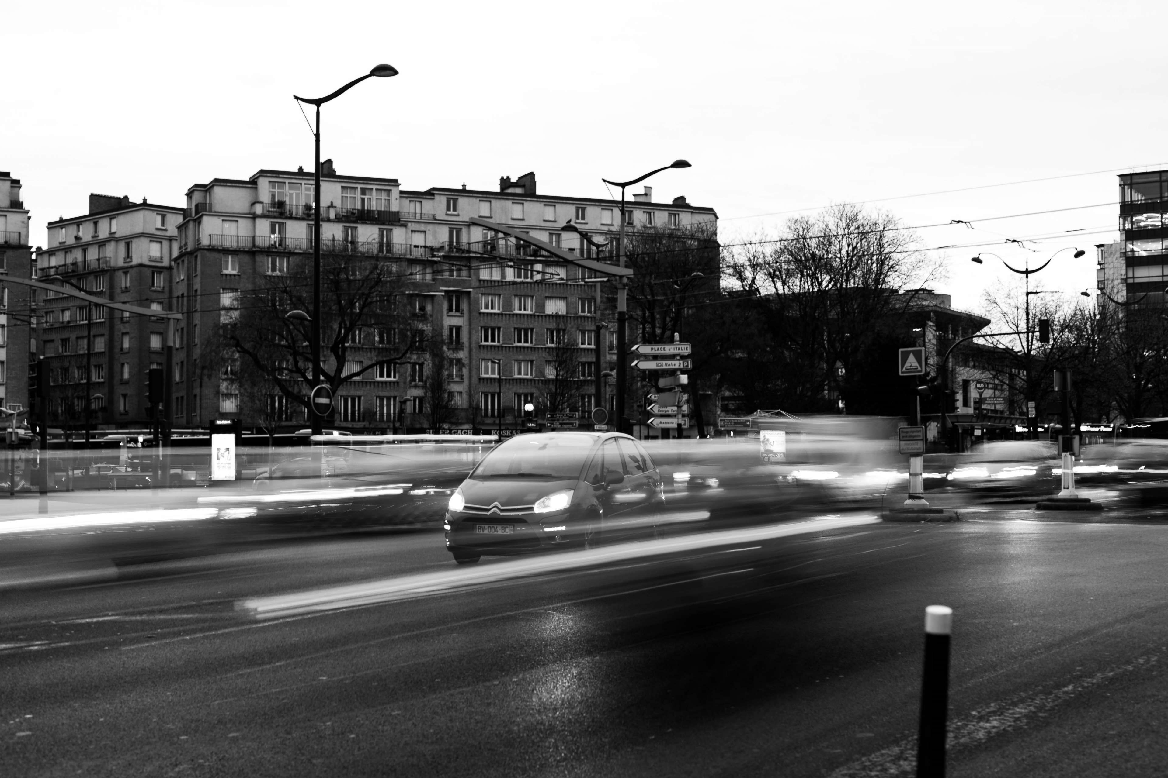 black and white, buildings, cars, city, lights, long ...
