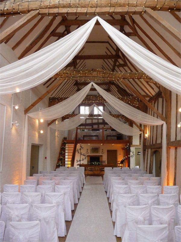 Organza Ceiling Drapes Simple But Effective Farm Wedding Venue