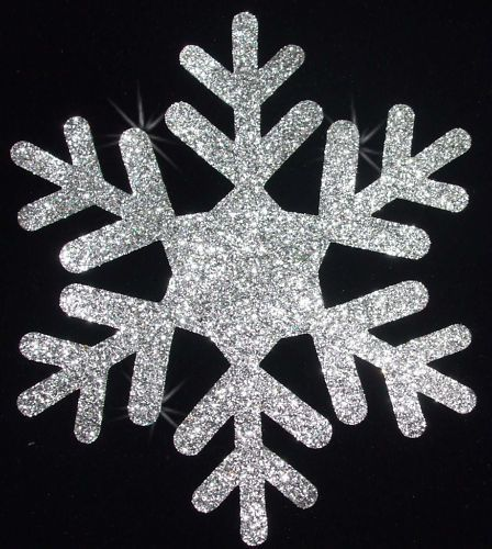 3-Pack, Small, Iron on White Snowflake Applique Patch Snow