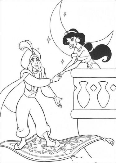 Jasmine And Aladdin --coloring page | Madeline\'s 5th Birthday ...