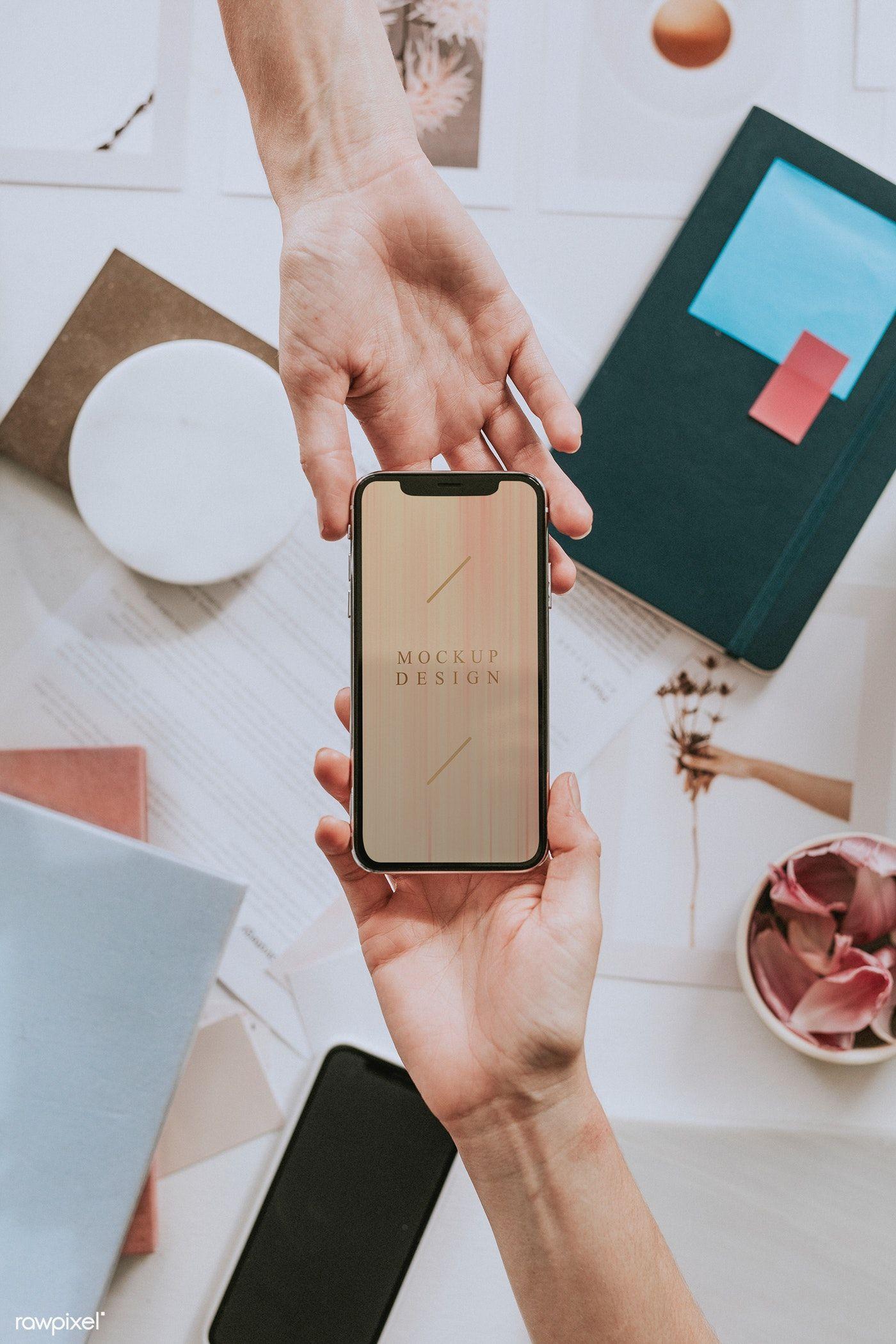 Download Premium Image Of Close Up Hand Sending Smartphone Mockup Design Mockup Phone Mockup Design