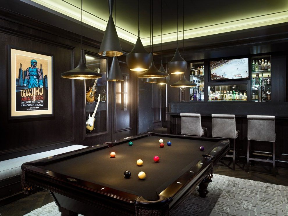 Game Room With Bar Designs Family Room Contemporary With Black Pool Table Black Pool Table Grey Barstools Game Room Bar Black Pool Table Pool Table Room
