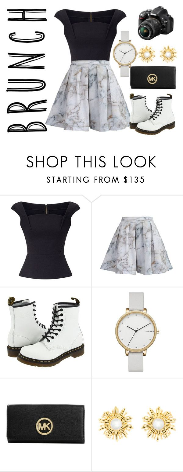 """Mother's Day Brunch Goals"" by zarared ❤ liked on Polyvore featuring Roland Mouret, MPJ, Dr. Martens, Skagen, MICHAEL Michael Kors, Nikon, Oscar de la Renta, gold, white and black"