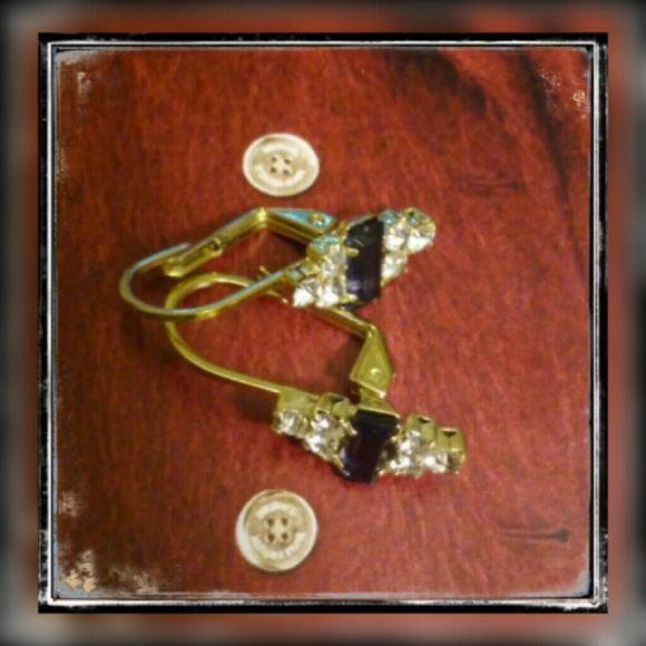 Blue 18K brazilian gold filled earrings New Never used Blue topaz