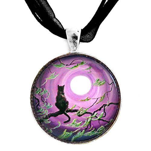 Black Cat in Moss Covered Branches Full Moon Art Pendant - http://www.sparklingheaven.com/necklaces/art-glass-pendants/black-cat-in-moss-covered-branches-full-moon-art-pendant/