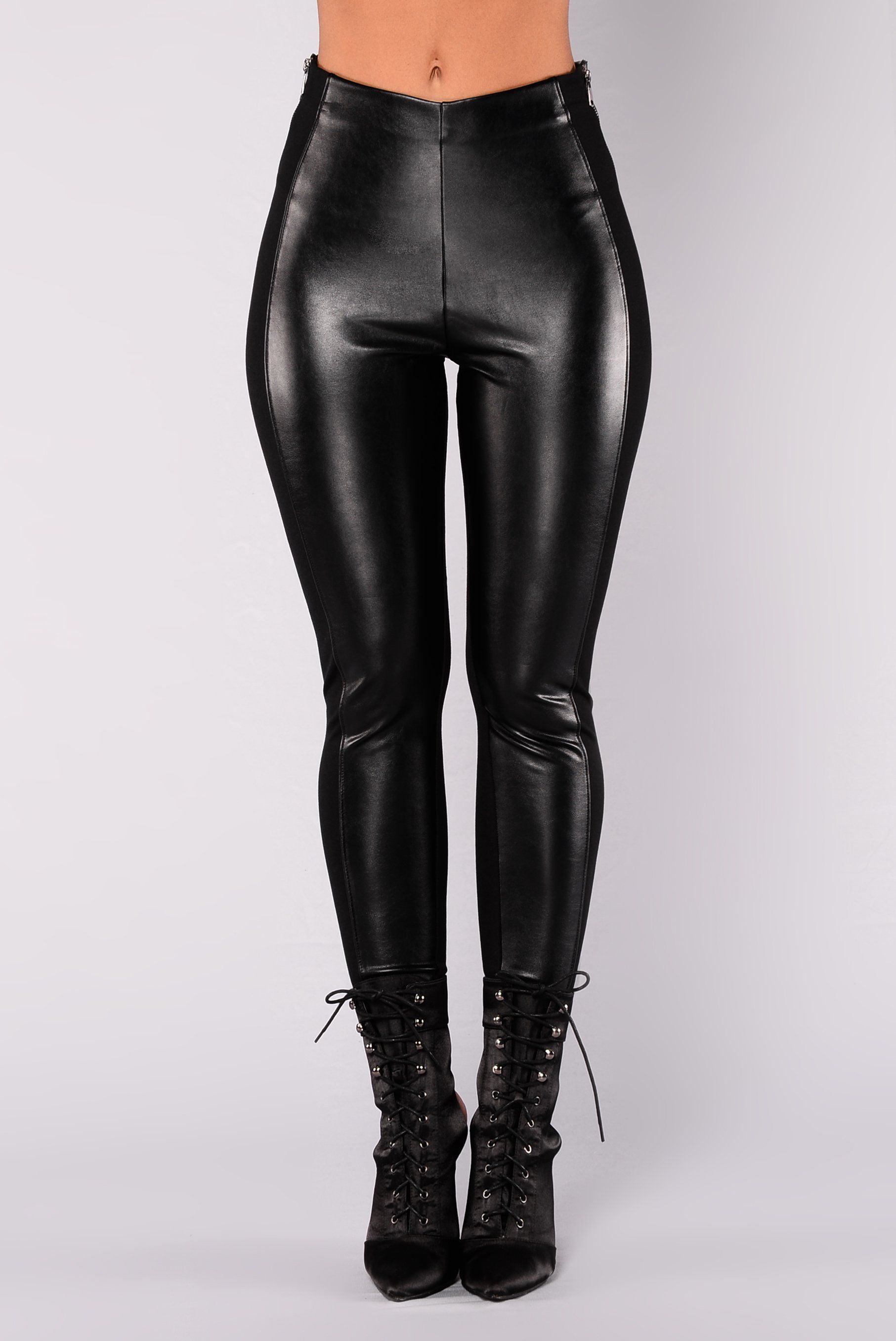 312b2d52ba871 Available In Black High Rise Full Stretch Faux Leather Leggings Front  Zipper Wrap Around Detail Self: 68% Rayon 27% Nylon 5% Spandex Contrast:  45% ...