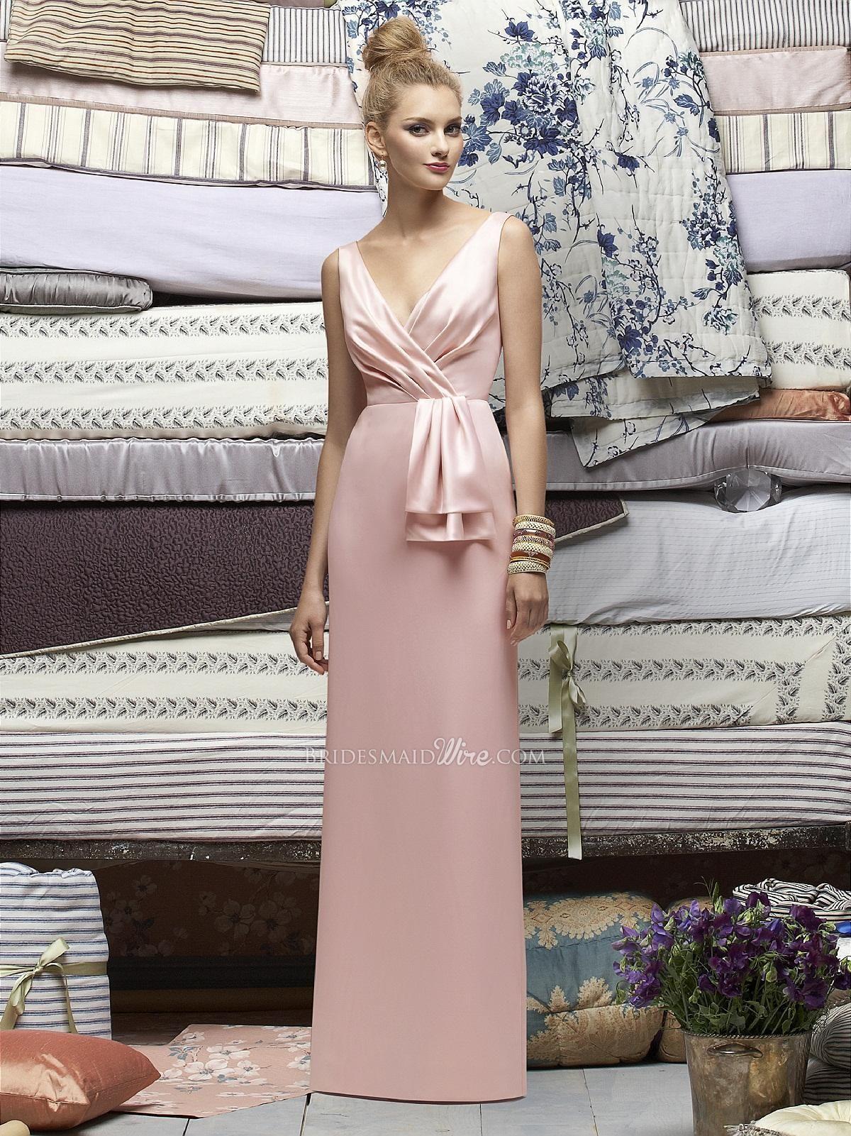 Petal pink sleeveless vneck long sheath bridesmaid trendy formal