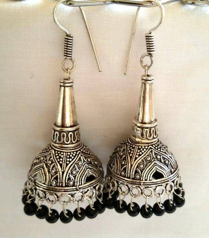 Latest jhumkas silver antique and ethnic danglers with beads online ...