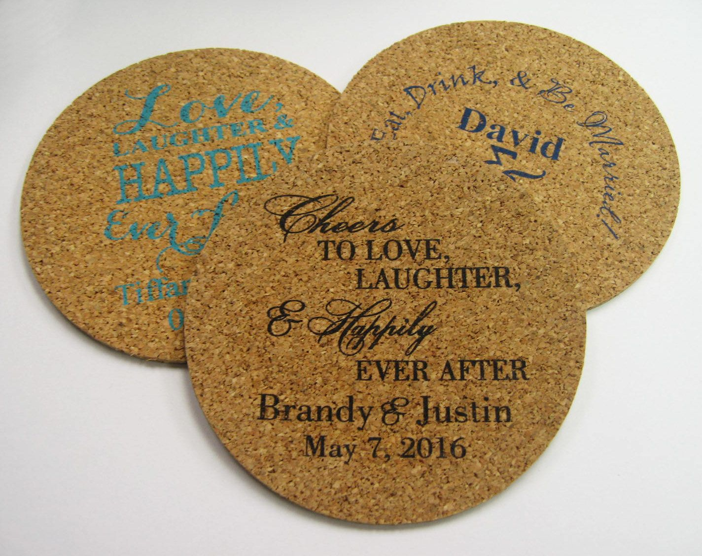 Wedding Favors Coasters 150 Round Cork Drink Custom Personalized Rustic Favor Winery Brewery