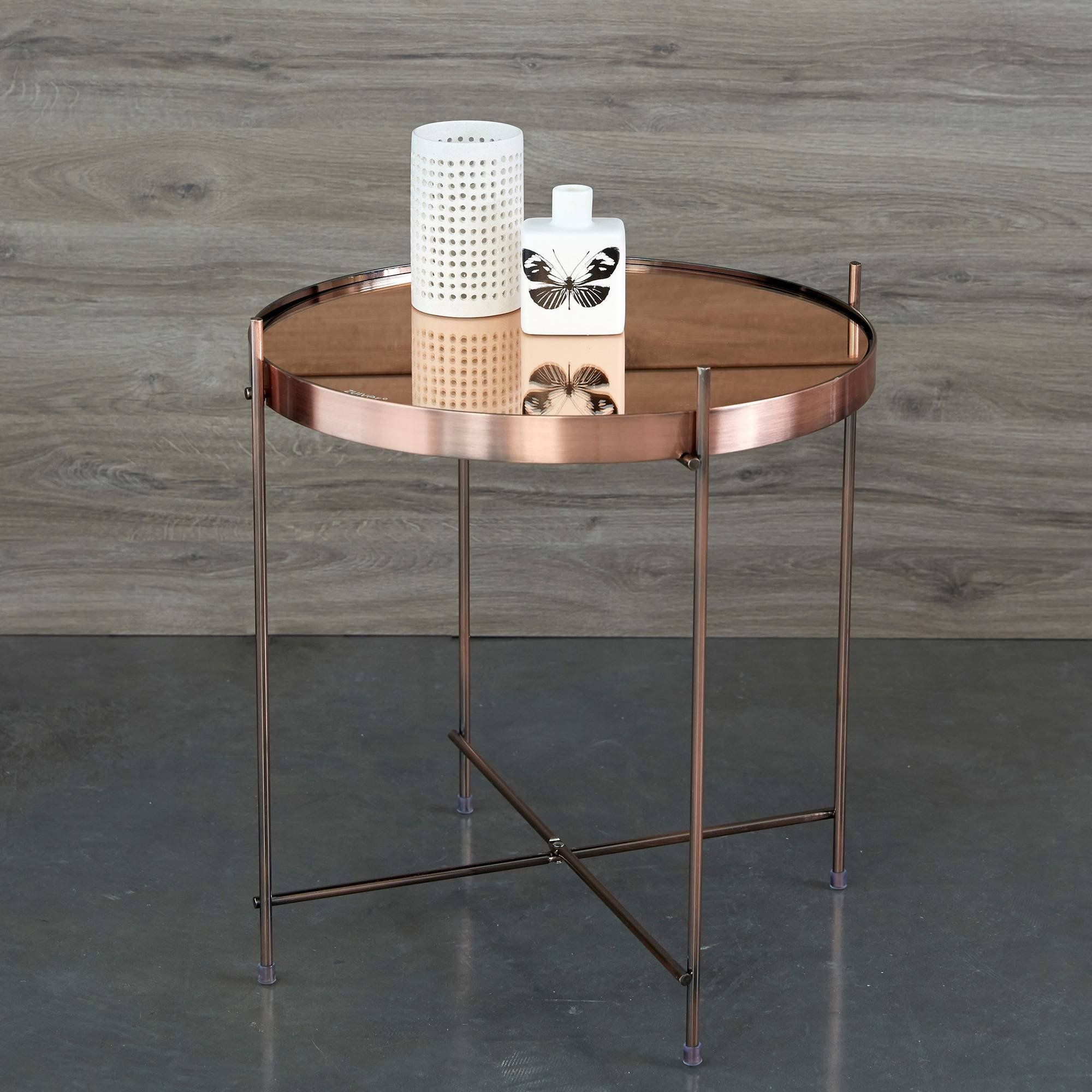 table basse guéridon métal plateau miroir cupid zuiver. inspirée