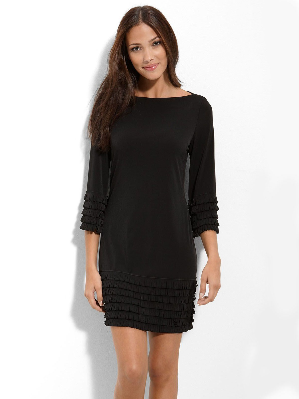 Brilliant Layered Long Sleeves Column Black Little Dress | Party ...