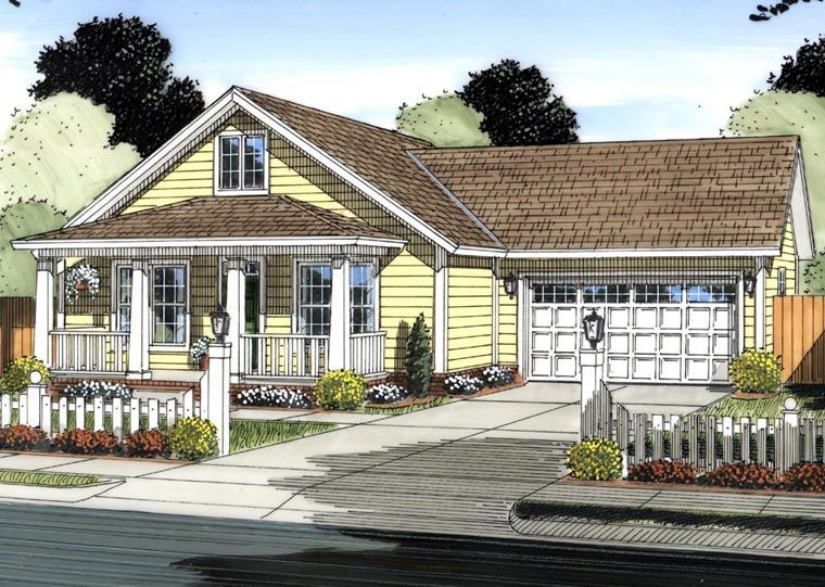 Traditional Style House Plan 61438 With 3 Bed 2 Bath 2 Car Garage Cottage Style House Plans Cottage House Plans New House Plans
