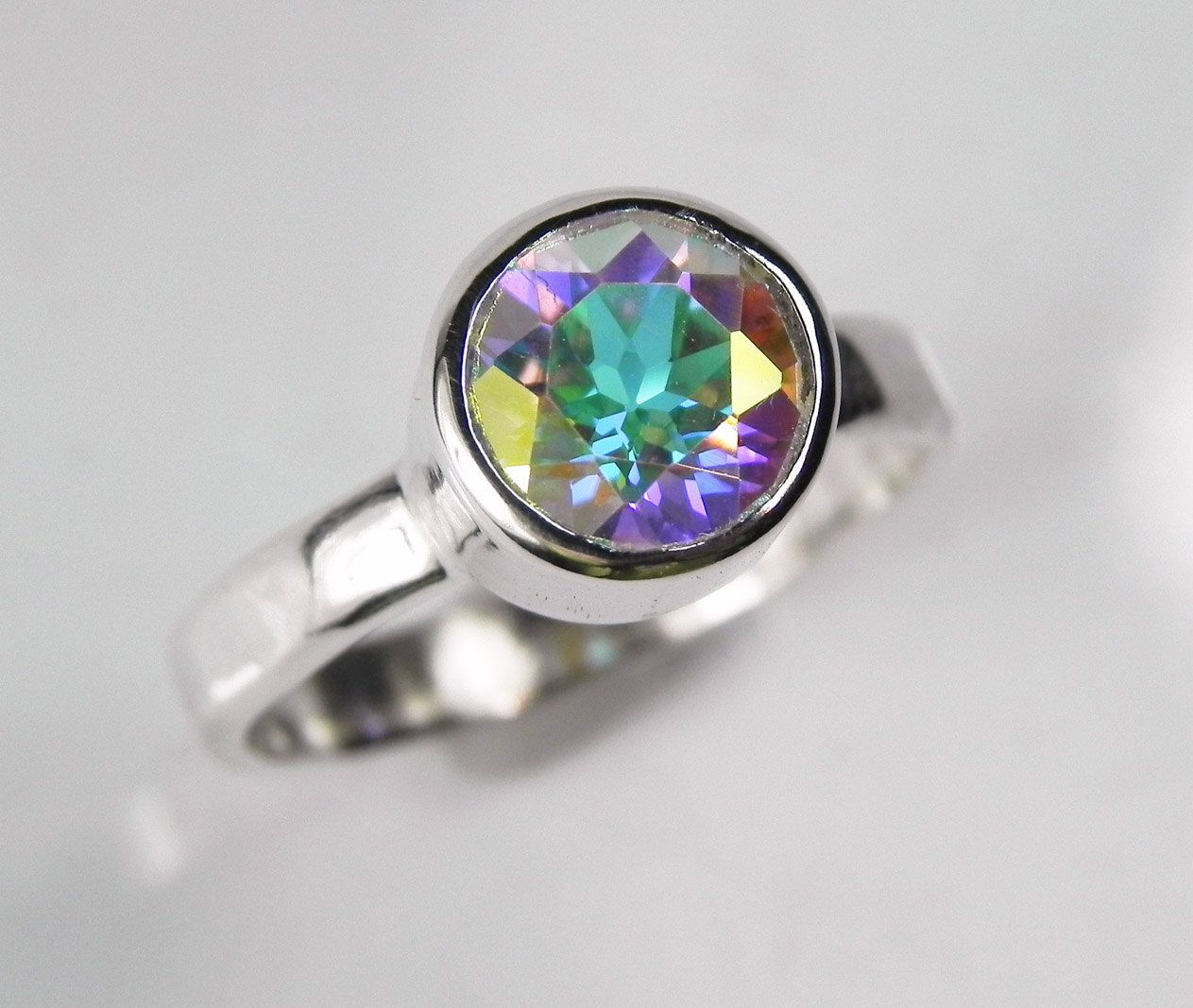 Mystic Topaz Engagement Ring -Rainbow