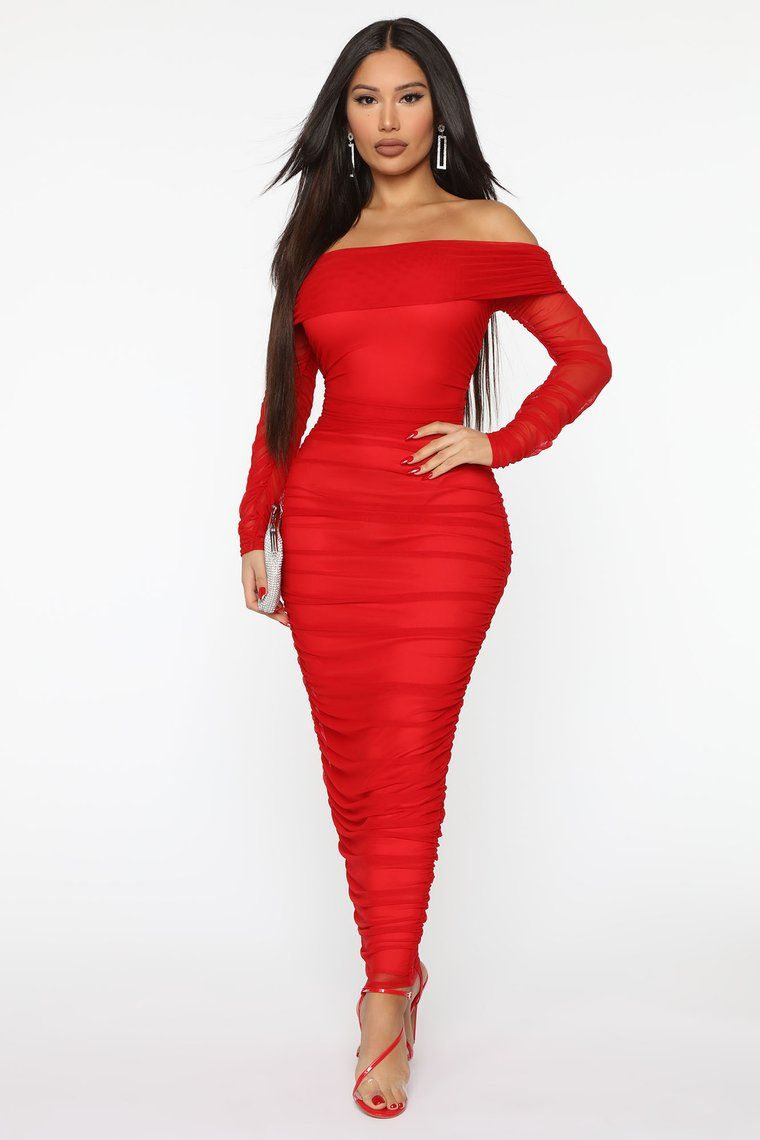 Top Trend Ruched Maxi Dress Red Fashion Nova in 2020