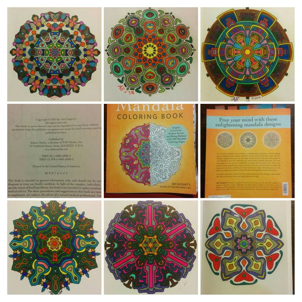 The mandala coloring book jim gogarty - Collage Of Colored Pages From The Mandala Coloring Book By Jim Gogarty Various Media