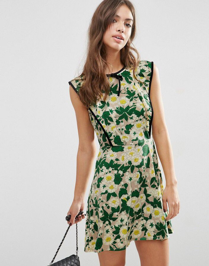 ASOS COLLECTION ASOS Floral Skater Dress With Contrast Tipping