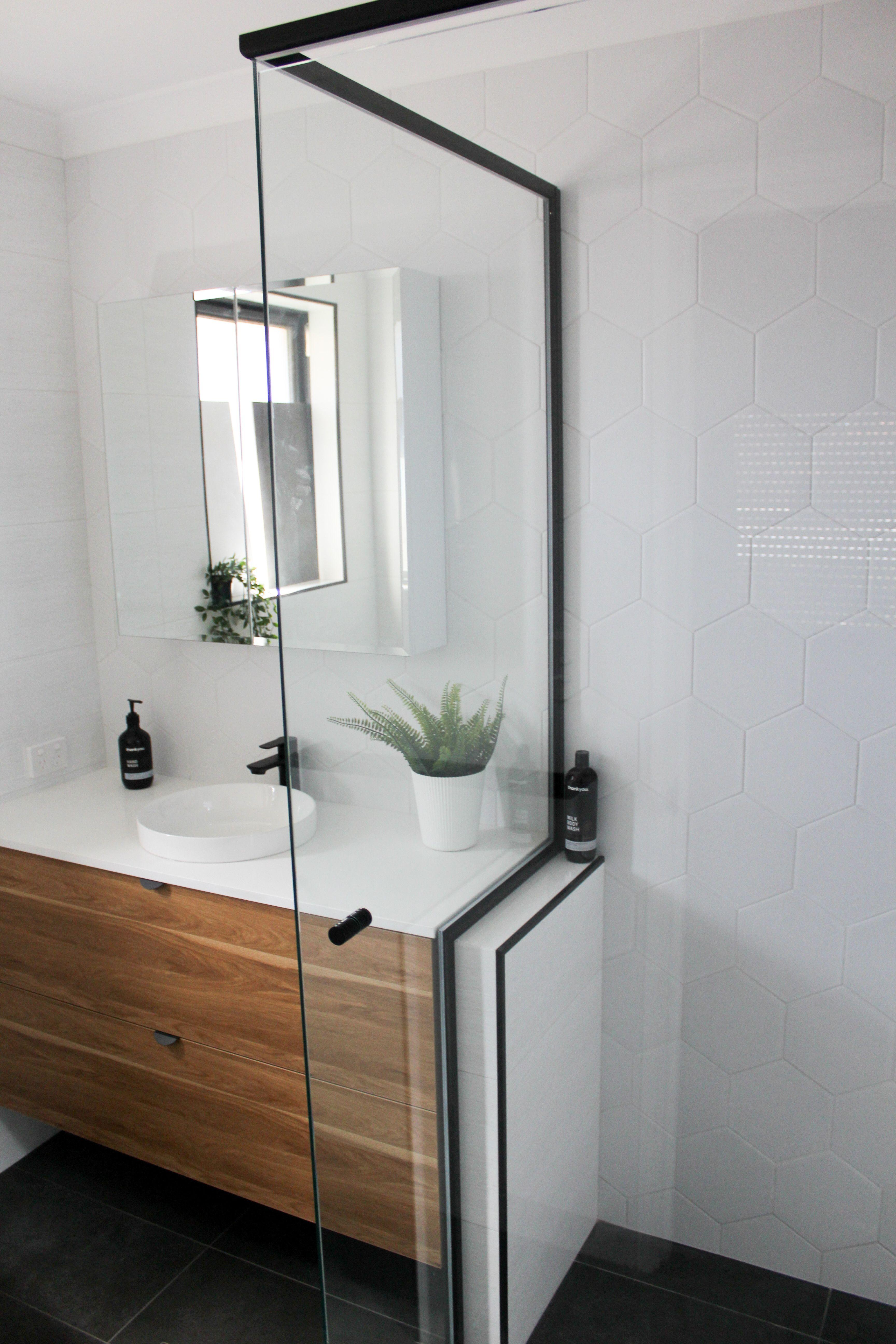 Black Trim Shower Screen Ensuite Bathroom Designs Shower Screen Bathroom Wall Hanging